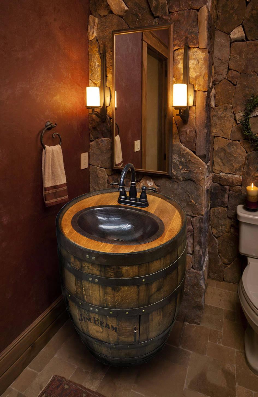 Whiskey barrel sink, hammered copper, rustic antique bathroom / bar ...
