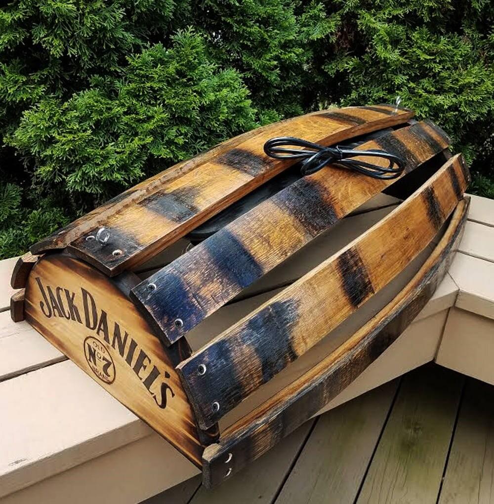 Whiskey Barrel Pool Table Bar Billiards Hanging Light Fixture Rustic Bourbon Western Oak Wood