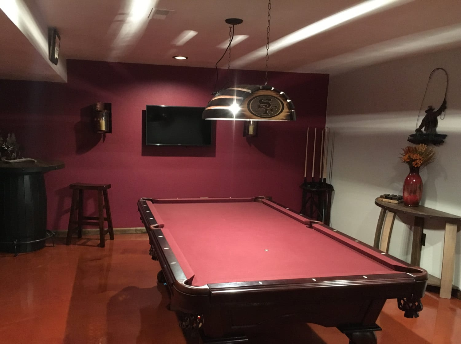 Whiskey Barrel Pool Table Bar Billiards Hanging Light Fixture Rustic - Pool table and bar near me