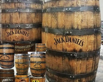 Whiskey barrel customizing finished stained bourbon barrels oak aged rustic peronalized home bar pub display