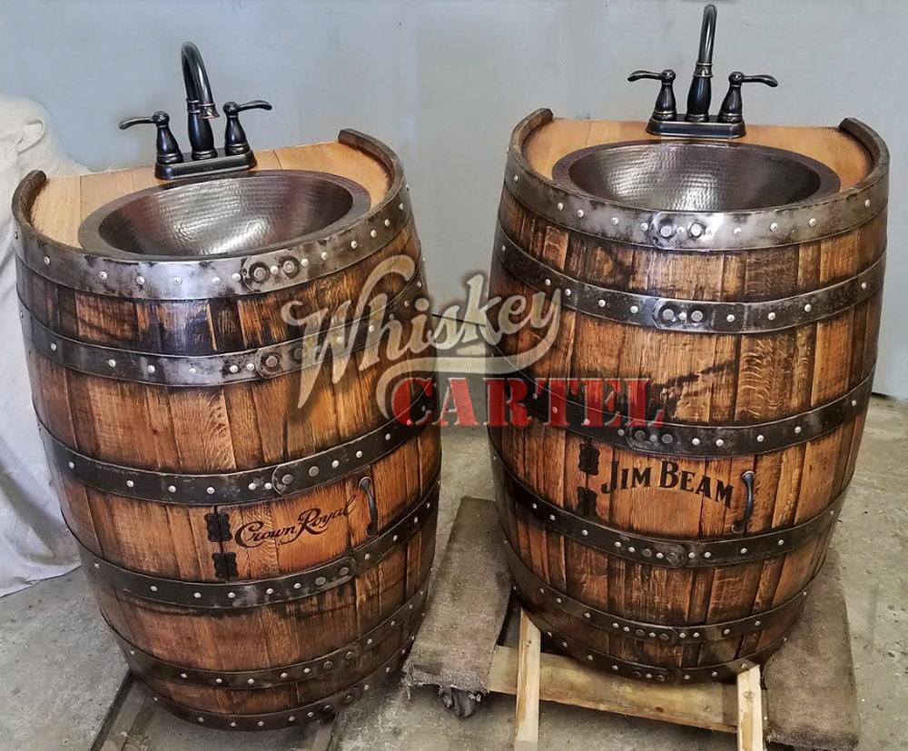 Whiskey Barrel Sink 34 Flat Back Half 12 Hammered Copper Rustic