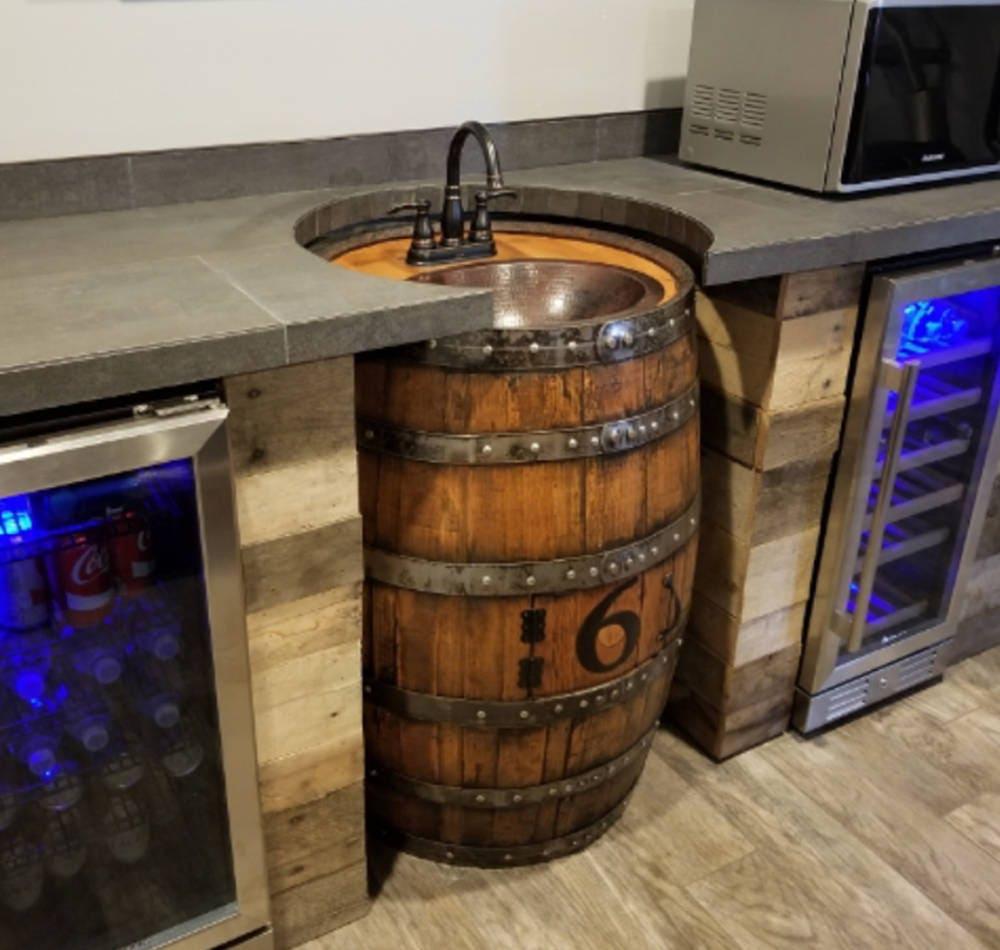 Whiskey barrel sink hammered copper rustic antique bathroom bar man cave vanity wine oak barrel vanity bourbon custom personalized
