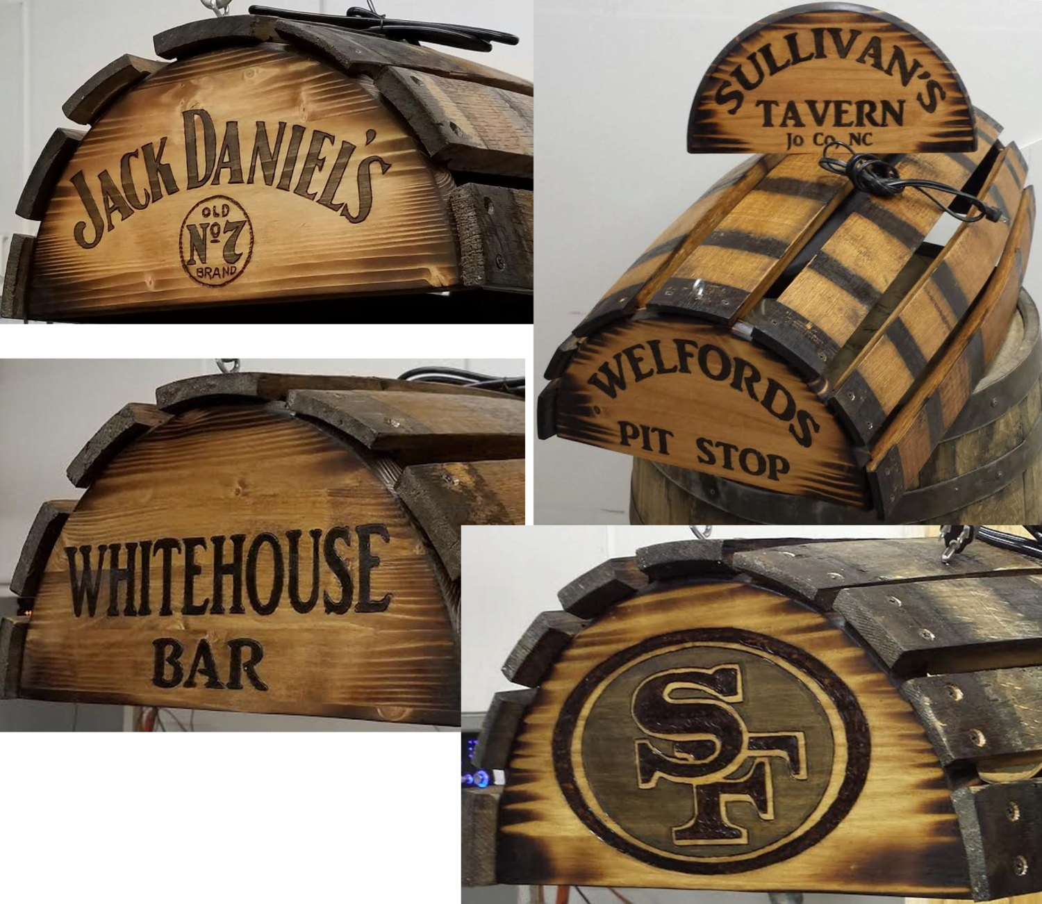 Whiskey Barrel Pool Table Bar Billiards Hanging Light Fixture Rustic  Bourbon Western Oak Wood Stave Customize It Personalized