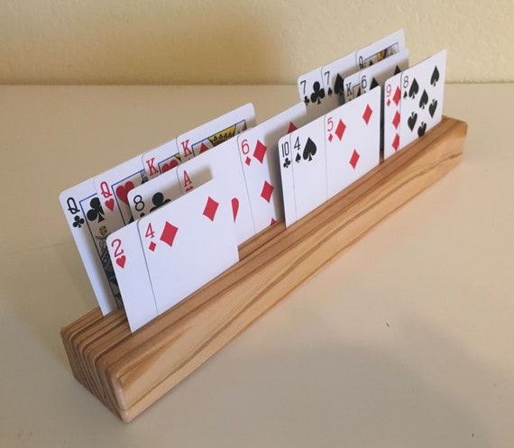 Set of 4 Beautiful Handcrafted Wood Playing Card Holders with Child Friendly Finish and FREE US SHIPPING!