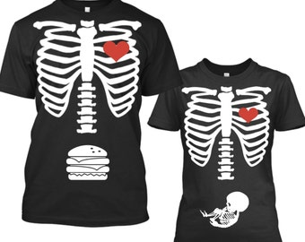 Halloween Pregnancy Announcement Shirt, Pregnancy Announcement Halloween, Halloween Pregnancy Shirt, Halloween Maternity Shirt, Skeleton Tee
