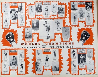 1940's Boxing Poster, World's Champions and Past Greats of the Prize Ring