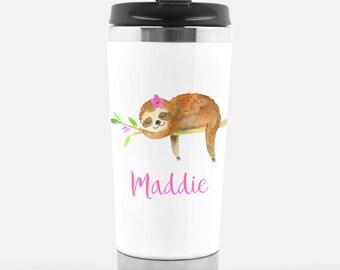 15670d2537 Sloth Mug Tumbler Gift - Kids Sloth Cup - Custom Water bottle -  Personalized Birthday Gift