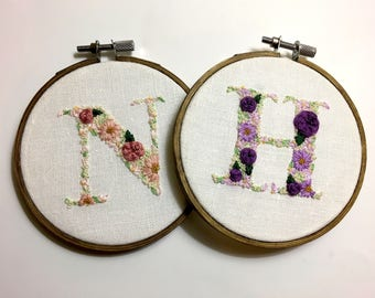 Embroidery Floral Letter , Monogram , Nursery gift, Timeless Home Decor