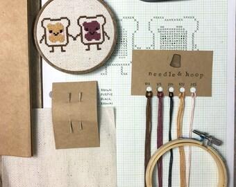 DIY Cross Stitch Kit, PB & J Pals, Peanut Butter and Jelly, Cross Stitch Pattern