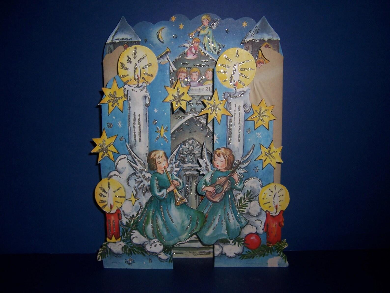 Vintage German Christmas Advent Calendar, Angel Advent Calendar, Tri-Fold, Fold Out, Western Germany