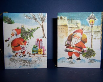 Vintage German Christmas Gift Tag Cards, 1960's West Germany, Santa, Unused