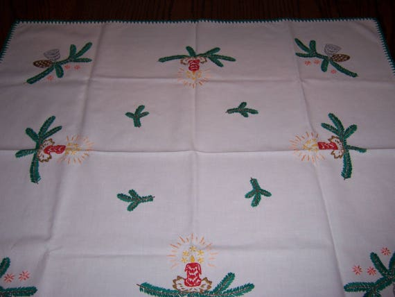 Vintage German Christmas Tablecloth, Hand Embroidered, Bells, Candles and Evergreen Branches, 31 x 27