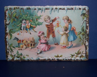 Victorian Christmas Trade Card, Gowans and Stover, Old Christmas Trade Card