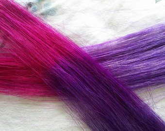 "2 x human hair extensions. Clip in. Purple and pink ombre style . emo scene party gift fun. Hand painted 19""long"