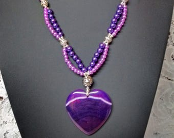 Agate Heart Necklace, Heart Necklace, Two Strand Necklace, Agate Necklace, Purple Necklace, Boho Necklace, Hippie Jewelry, Bohemian Necklace
