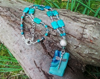 Dragonfly Necklace, Dragonfly Agate Necklace, Dragonfly Gemstone Necklace, Dragonfly Beaded Necklace, Azurite Chrysocolla Necklace