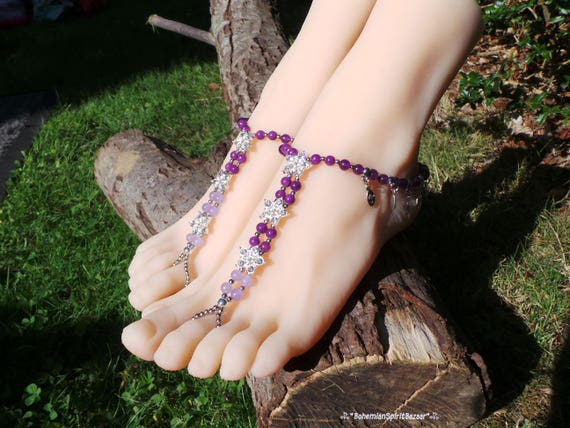 Sandals Barefoot Sandals Jade Barefoot Gypsy Barefoot Sandals Sandals Bohemian Sandals Purple Barefoot Barefoot Sandals Barefoot Boho XXzqxfp