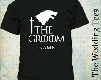 0d8532c7 Groom Game of Thrones Funny T-Shirt . Groom Tees . Game of thrones T-Shirts  . Bachelor Party . Groomsmen. House of Stark . Wedding is Coming