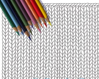 BLANK KNIT HORIZONTAL Coloring Page / Printable Knitting Coloring Page / Drawing of Knitting / Pdf Knitting Art