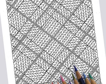 KNIT ARGYLE Coloring Page / Printable Coloring Page / Drawing of Knitting / PDF Argyle Knit Art