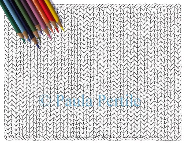 BLANK KNIT HORIZONTAL Coloring Page / Printable Knitting image 0