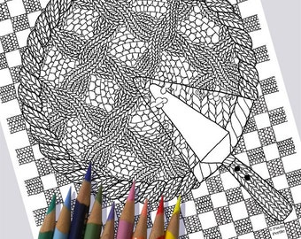 KNIT CUT PIE Coloring Page / Printable Coloring Page / Drawing of Knitting / Pdf Pie Art / Knitting Art