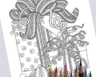 KNIT PRESENTS Coloring Page / Printable Coloring Page / Drawing of Knitting / PDF Knitting Art / Wrapped Gifts Presents