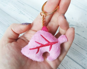 Animal Crossing New Horizons Leaf Soft Plush Keychain | Pink Pastel Spring Edition |