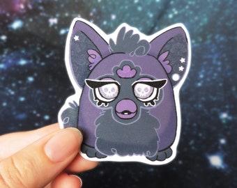 Furby Vinyl Sticker | Punk Goth Purple Skull |