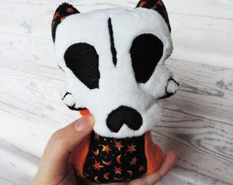 Skeleton Cat Creature Plush | Spooky Halloween Decor | Goth Plushie Art Doll | Orange Stars