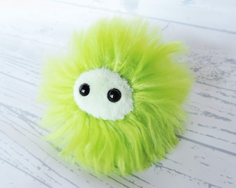 Anti Anxiety Puff Plush | Worry Pet Stress Ball | Monster Critter | Fluffy Lime Green