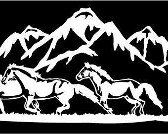 horse truck etsy Classic Monarch Horse Trailer 2 vinyl decal horses running mountains horse trailer love truck country bumper sticker car truck laptop