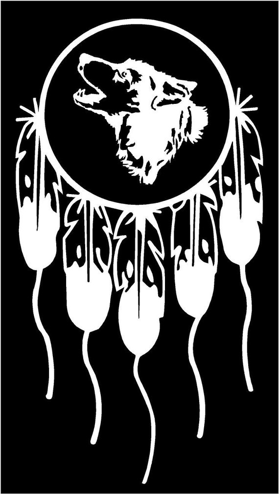 Vinyl Decal Dream Catcher Wolf Head Dreamcatcher Luck Native Etsy Classy Wolf Head Dream Catcher