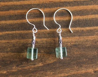 Fluorite Cube and Sterling Silver Earrings