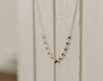 Tiny Garnet & Smoky Quartz Chain Necklace