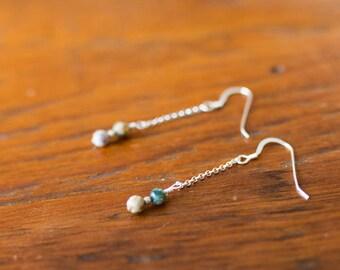 4mm Ocean Jasper Chain Earrings