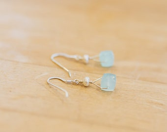 Faceted Chalcedony & Freshwater Pearl Earrings