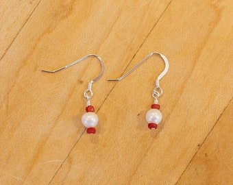 Tiny Freshwater Pearl & Ruby Earrings