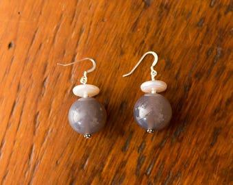 19mm Grey Agate & Freshwater Pearl Earrings