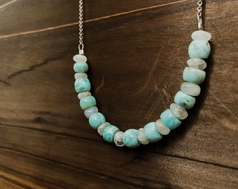 Larimar & Rainbow Moonstone Chain Necklace