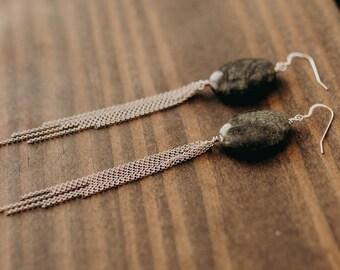 Russian Serpentine & Sterling Fringe Earrings