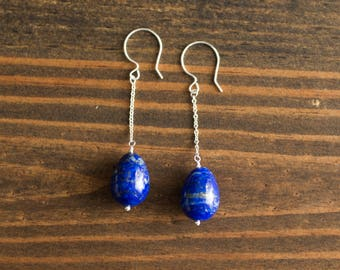 Lapis Teardrop Chain Earrings