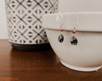 Tourmalated Quartz & Ruby Earrings
