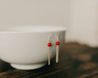 Small Coral Fringe Earrings