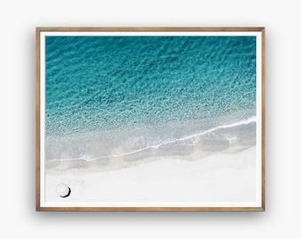 Beach photography, Aerial Beach print, seaside photo, ocean print, blue sea photo, modern abstract, ocean wall art, instant download