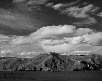 Marin Headlands - Black and White Photograph on Brushed Aluminum. Wall Art. Home Decor. Office Decor. Photography. Clearance. Fine Art.