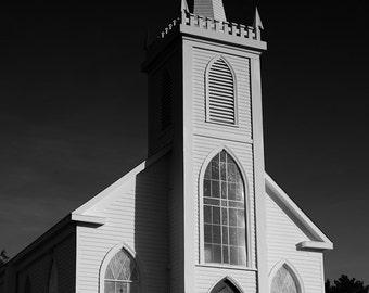 Catholic Church - Bodega, CA - Photographic Print on Canvas. Giclee. Home Decor. Office Decor. Black & White. Photography. Movie - The Birds