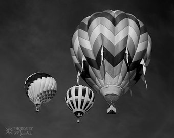 Hot Air Balloons - Black and White, Photo, Wall Art, Home, Office, Fine Art, Flying, Flight