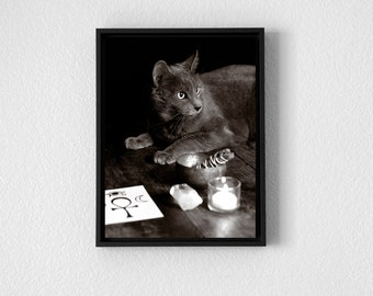 Witch's Familiar - Art Print. Wall Art. Printable. Digital Download. Wiccan. Pagan. Witch. Cat. Occult. Goth. Dark.