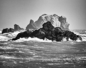 Rocks, Waves, and Wind - Photographic Print on Canvas. Giclee. Black and White. Landscape. Coast. Ocean. Sea. Home Decor. Office Decor.